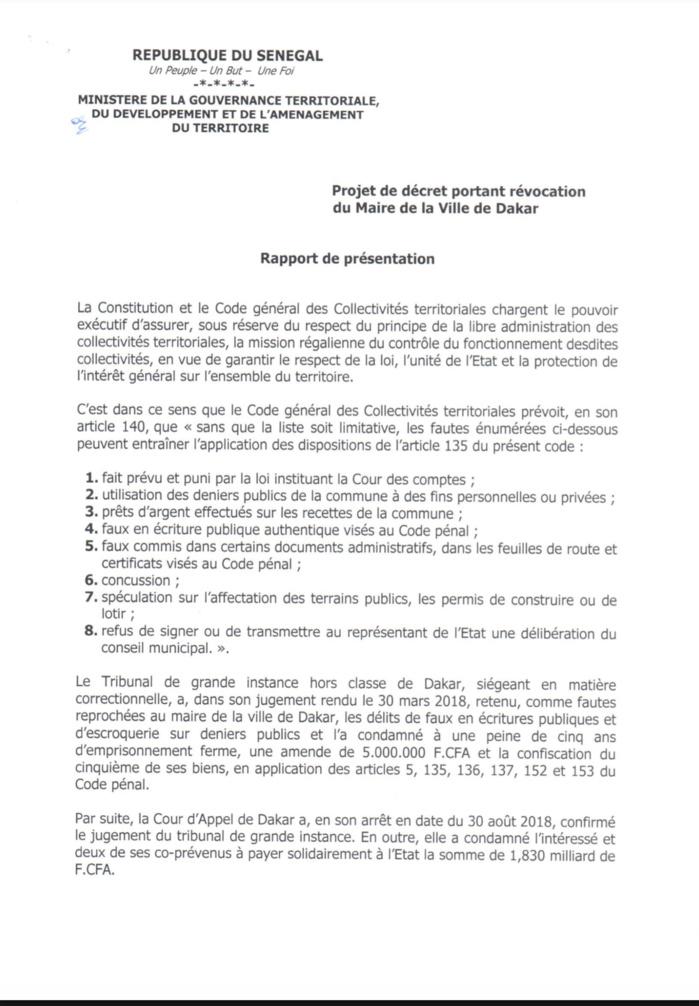 Conséquences du verdict de la Cour d'Appel : Khalifa Sall révoqué de son poste de maire de Dakar (décret)