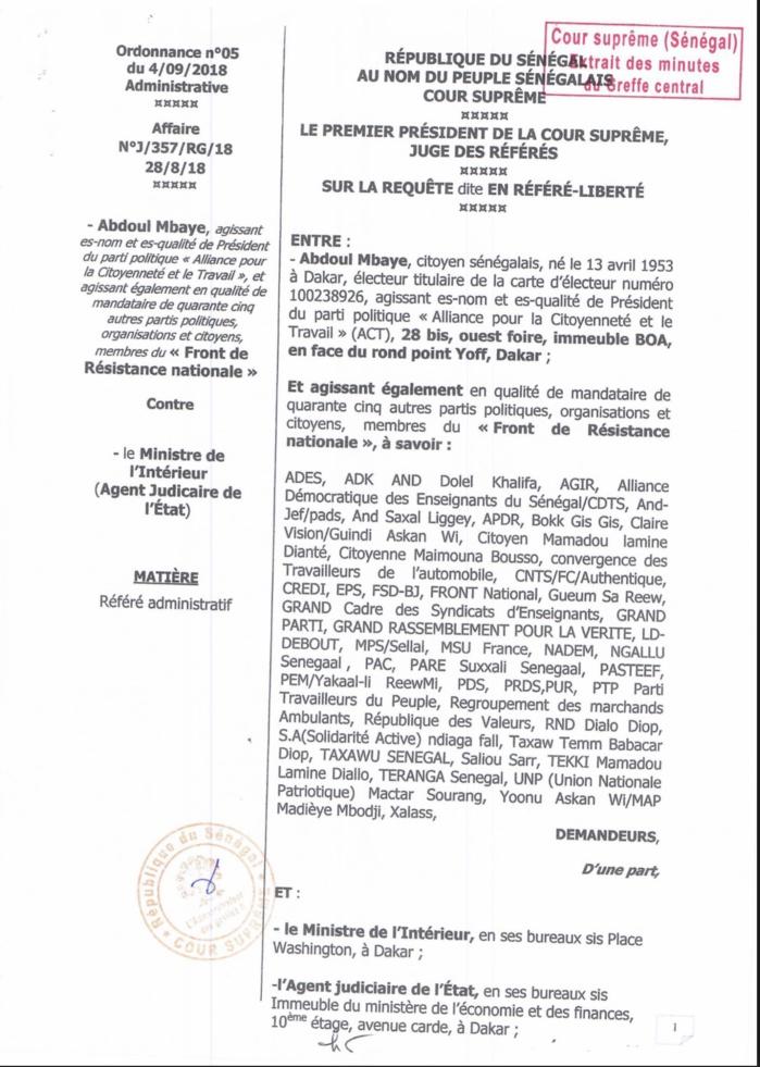COUR SUPRÊME : La requête dite en référé de Abdoul Mbaye et Cie, rejetée (DOCUMENTS)