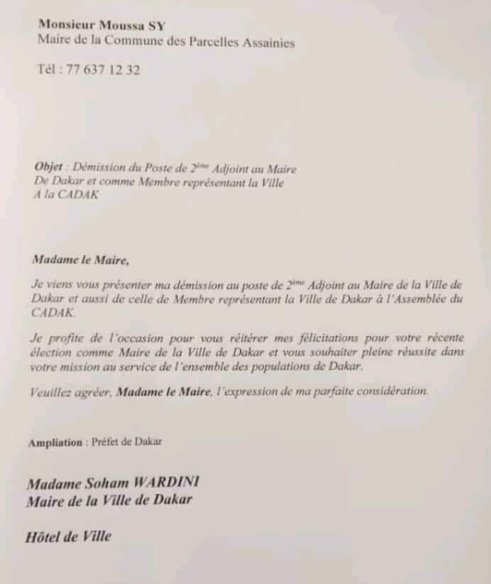 Mairie de Dakar : Moussa Sy démissionne de son poste