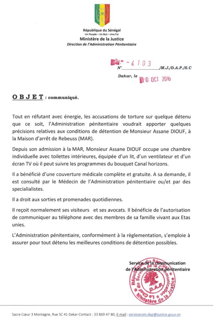 Détention Assane Diouf : La DAP réfute les accusations de torture et révèle