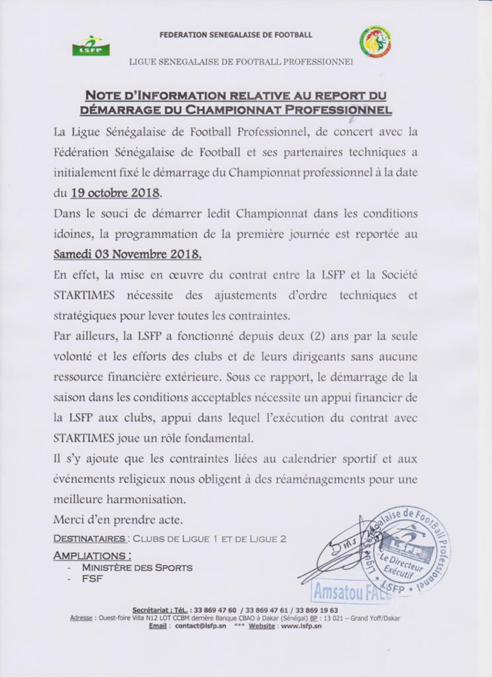 Ligue 1 & 2 sénégalaise / Le démarrage du championnat prévu ce mois d'octobre, finalement reporté à Novembre  (DOCUMENT)