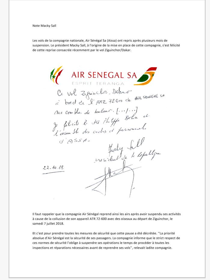 Aviation : Macky Sall ravi de la reprise des vols de Air Sénégal Sa