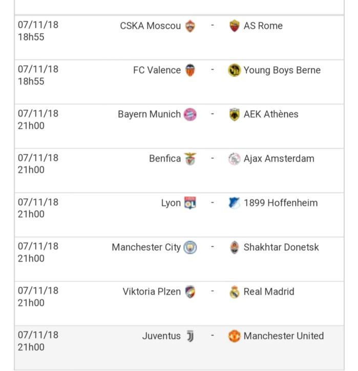 Champions league 4e journées / Affiches complètes mardi-mercredi