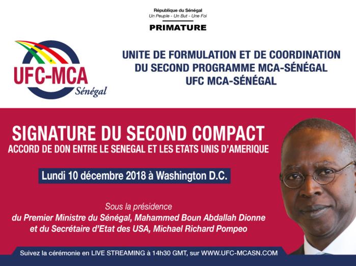 Le Premier Ministre à Washington le 10 décembre 2018 pour la signature du second Compact entre le Sénégal et les Etats Unis