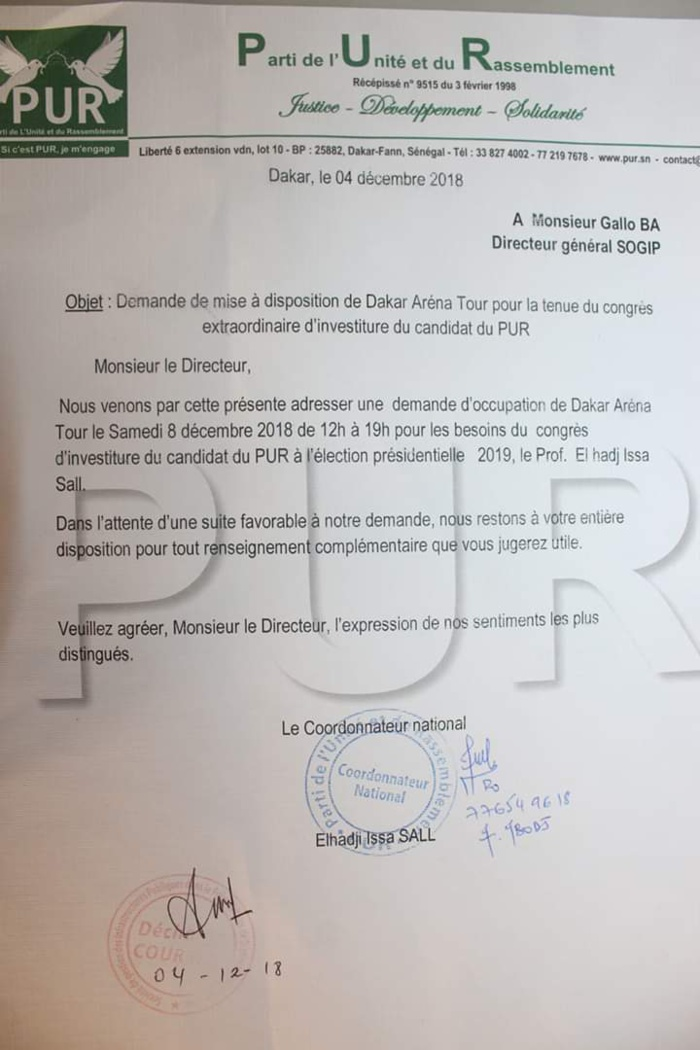 Investiture de Issa Sall : La demande de mise à disposition de Dakar Arena pour le candidat du PUR (DOCUMENT)