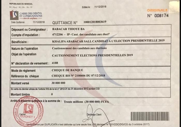Présidentielle 2019 : Khalifa Sall a déposé sa caution (DOCUMENT)