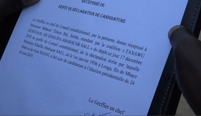 Conseil constitutionnel : Le récépissé de déclaration de candidature de Khalifa Sall