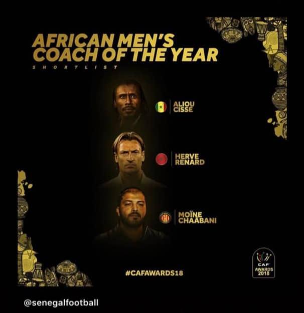 CAF Awards 2018 / Trophée du meilleur sélectionneur : Aliou Cissé favori, Hervé Renard et Moïne Chaabani en outsiders