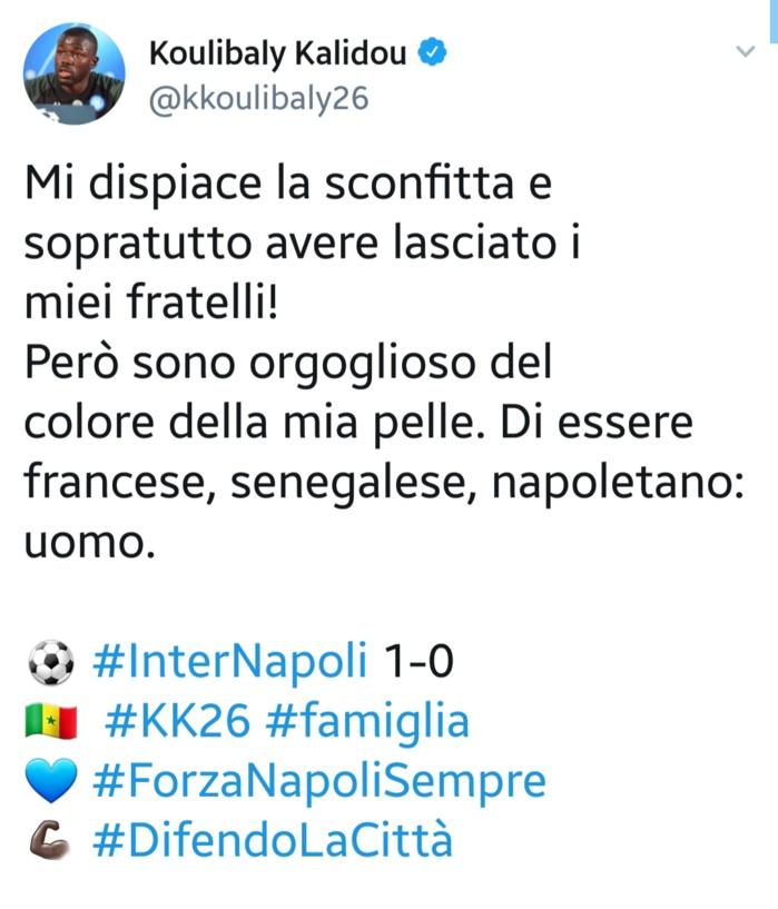 Italie - Kalidou Koulibaly victime d'insultes racistes lors du match contre l'Inter Milan