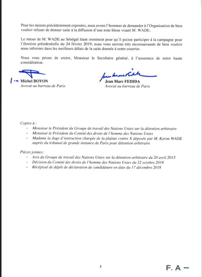 Retour de Karim Wade à Dakar : Les avocats de Wade-fils écrivent à Interpol (DOCUMENT)