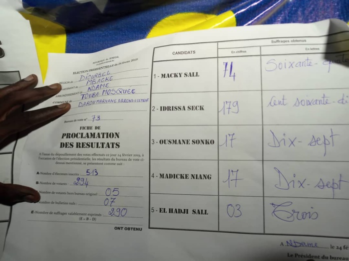 Touba : Madické Niang battu dans son bureau de vote par Idrissa Seck (DOCUMENT)