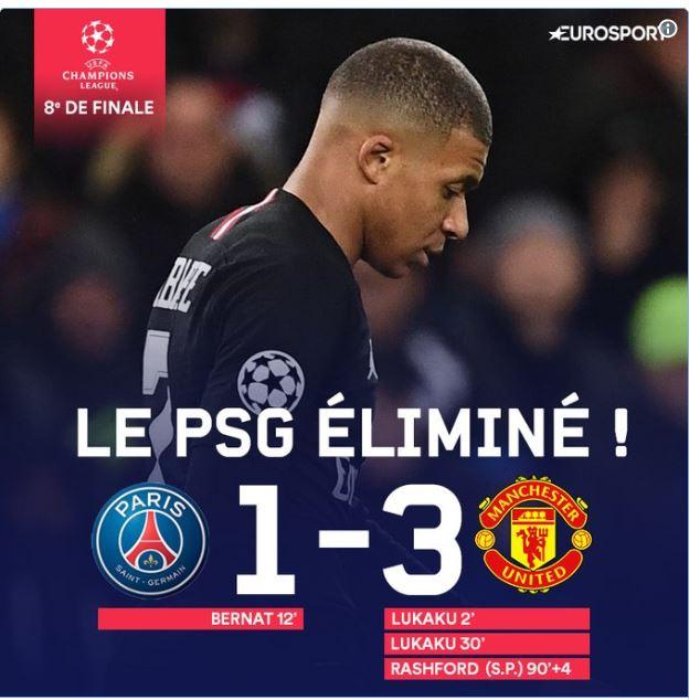 Séisme au Parc des Princes : le PSG éliminé par Manchester United (1-3) en 8e de finale