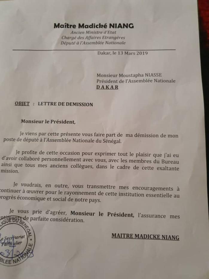 Assemblée nationale : Voici la lettre de démission de Madické Niang