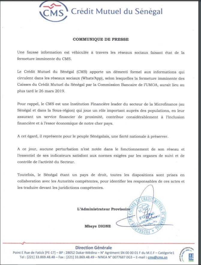 Supposée fermeture du Crédit Mutuel du Sénégal: le démenti de la Direction