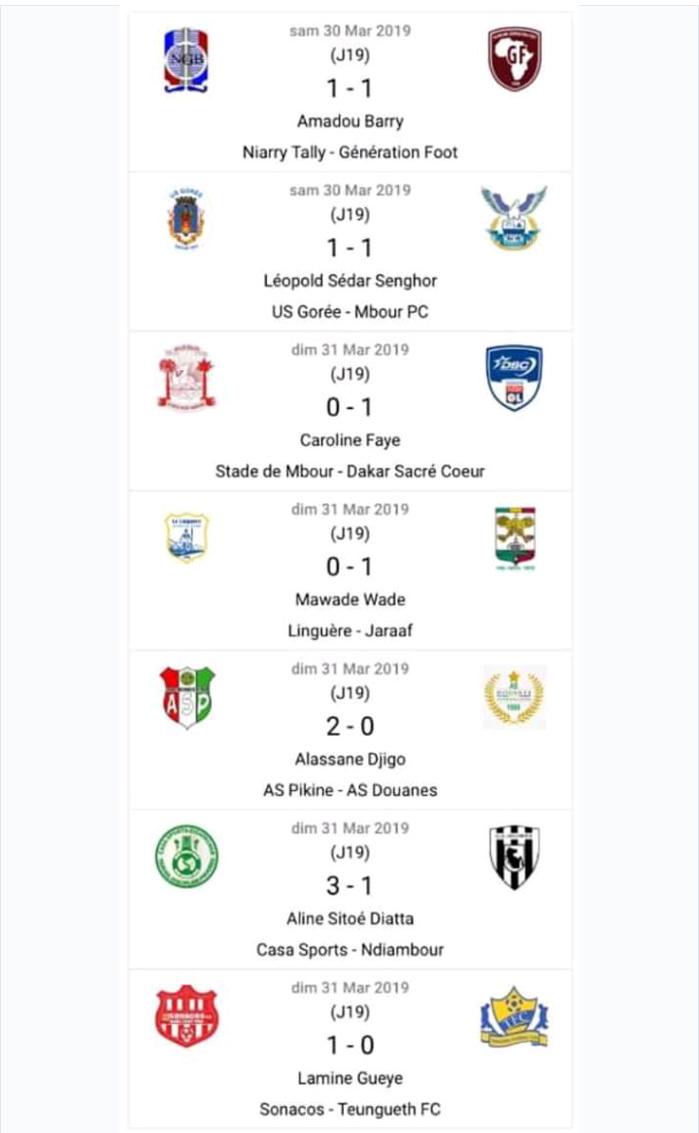19e journée Ligue 1 / Résumé des matches et classement complet : Génération Foot reste leader, l'AS Pikine et le Casa reviennent fort, TFC en chute libre