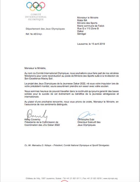 Reconduction de Matar Bâ au ministère des sports : Le comité international olympique s'en félicite (Document)
