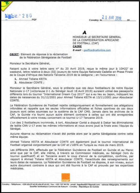 Fraude sur l'âge à la CAN U17 : La réponse de la Guinée au Sénégal