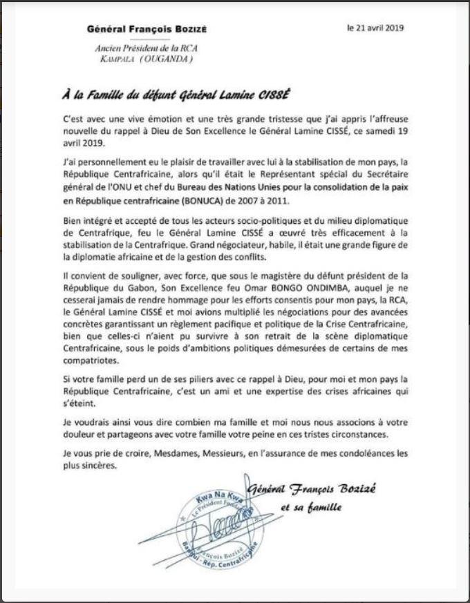 Rappel à Dieu du Général Lamine Cissé : l'hommage de l'ancien Président Centrafricain François Bozizé