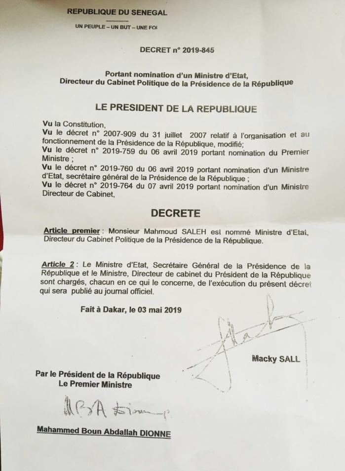 Présidence : Mahmout Saleh nommé ministre d'Etat, directeur de cabinet politique de Macky Sall