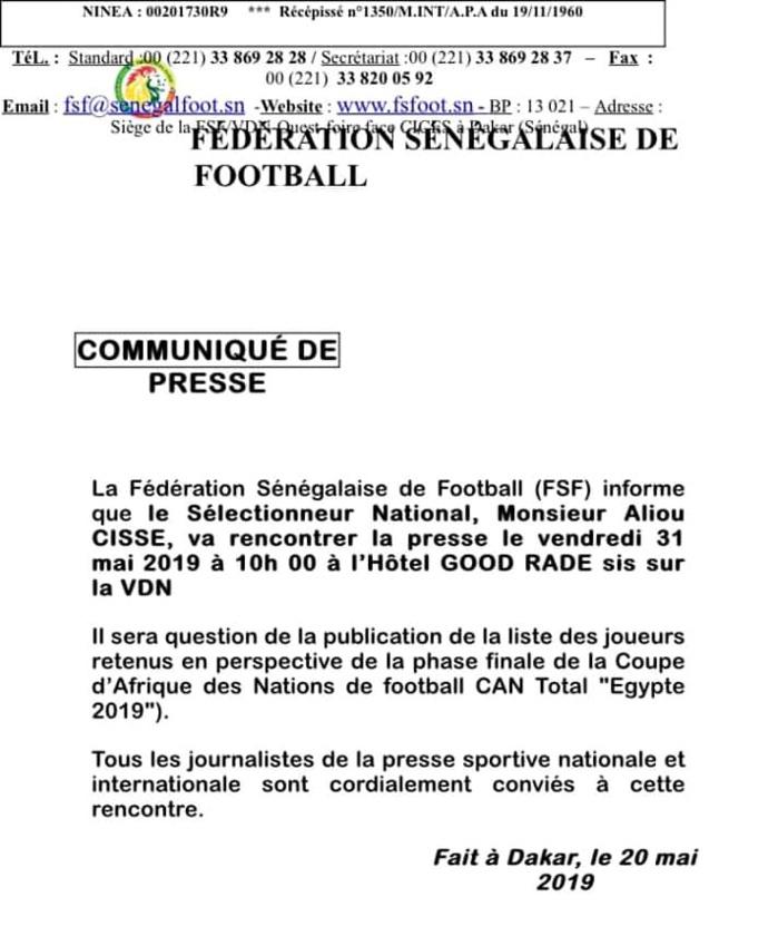 Officiel / CAN 2019 : Aliou Cissé publie la liste des joueurs retenus le 31 mai prochain !
