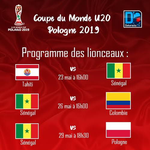 Coupe du Monde-U20 : Le programme des matches du Sénégal
