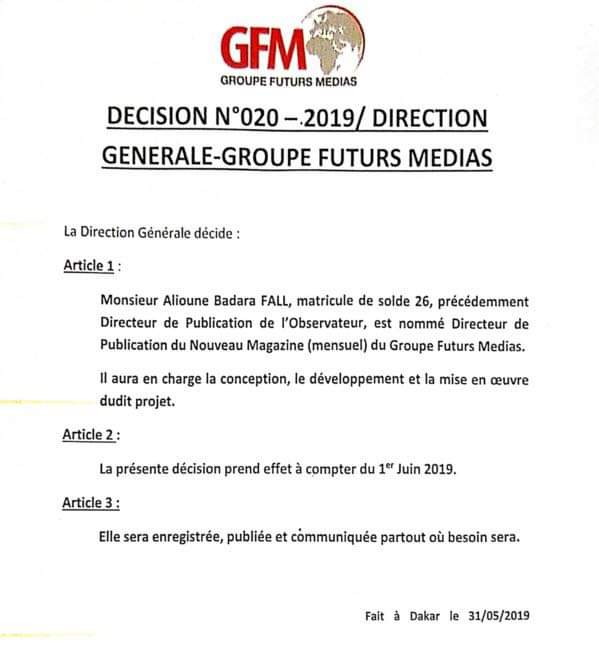 Groupe Futurs Médias : Alioune Badara Fall (ABF) promu... (DOCUMENT)