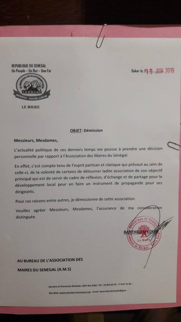 Association des maires du Sénégal : Barthélémy Dias a démissionné