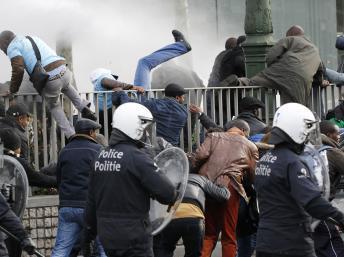 Violents heurts à Bruxelles entre la police et des manifestants congolais