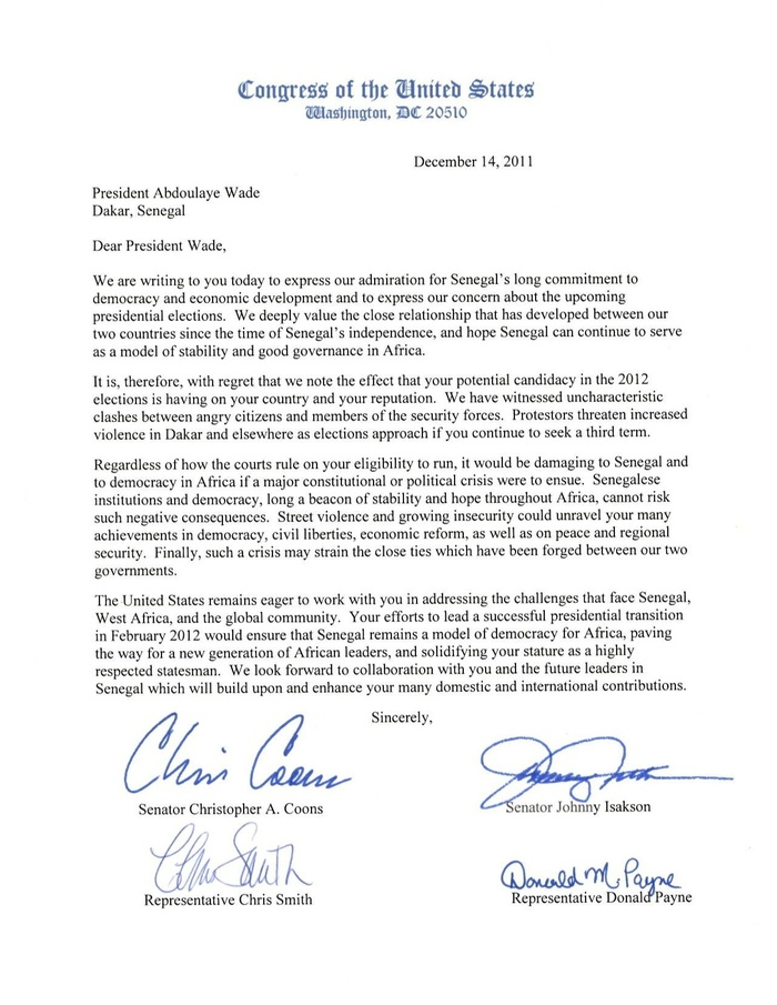 Voici la lettre du Congrès américain qui invalide la candidature de Wade et le met en garde