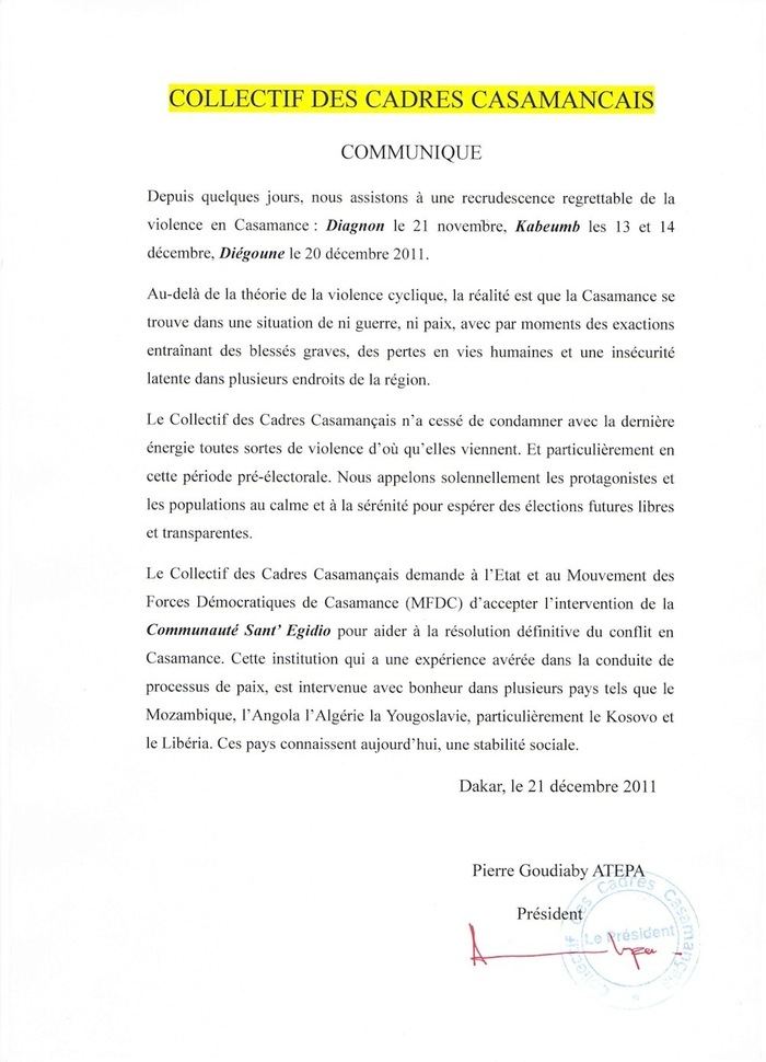 Le Collectif des cadres casamançais demande l'implication de la Communauté Sant'Egidio pour résoudre l'escalade de la violence en Casamance.