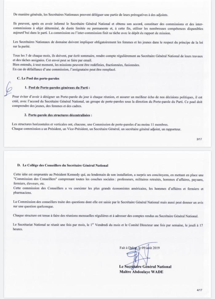 PDS / Wade forme un nouveau Secrétariat National : Karim Wade en pôle position, Oumar Sarr et Cie virés (DOCUMENTS)