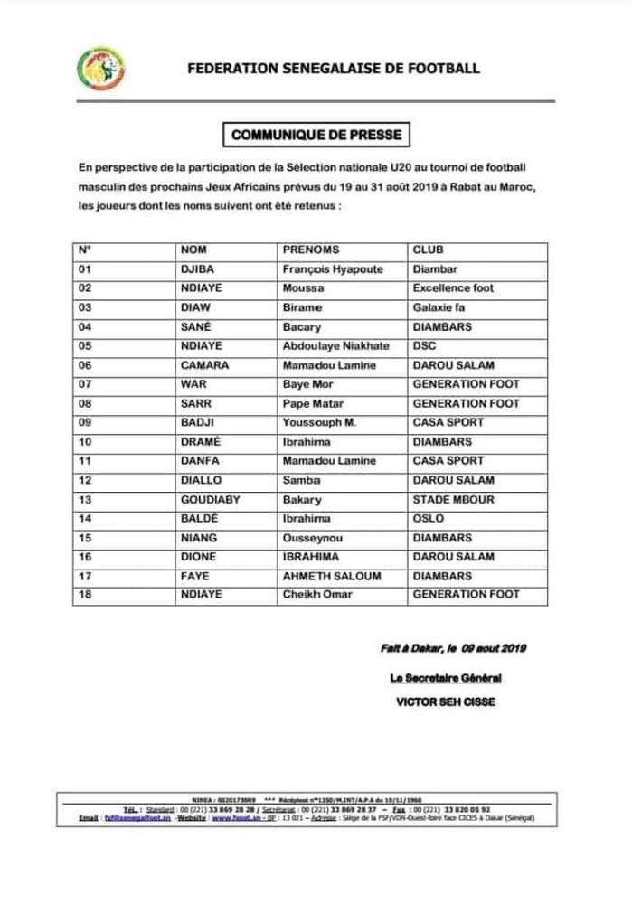 Equipe nationale U-20 : La liste des Lionceaux pour les Jeux africains Rabat 2019