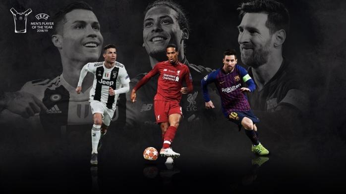 Meilleur joueur de l'UEFA : Messi, CR7 et van Dijk finalistes.