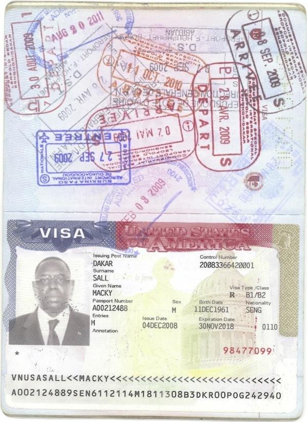 Voici le visa accordé à Macky Sall par l'ambassade des Etats-Unis: preuve qu'il n'est pas américain
