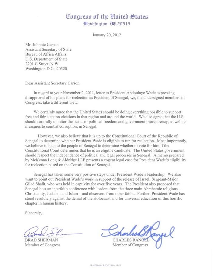 Exclusif! Deux congressmen écrivent au département d'Etat pour défendre la candidature de Wade