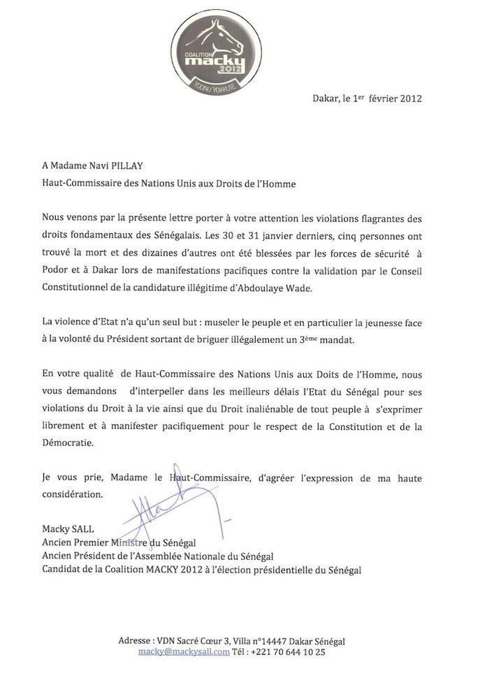 Echange épistolaire entre Macky Sall et Navi Pillay, haut commissaire des Nations-unies aux droits de l'homme.