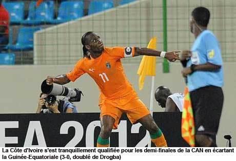 La Côte-d'Ivoire domine la Guinée Equatoriale et passe en demi-finale