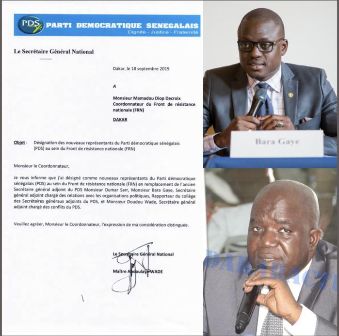 Front de résistance Nationale (FRN) : Bara Gaye et Doudou Wade remplacent Oumar Sarr pour le compte du PDS