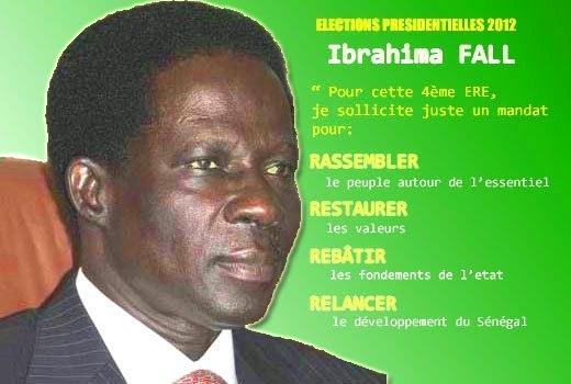 Ibrahima Fall : ''Les autorités religieuses et coutumières doivent dire à Wade de retirer sa candidatiure''