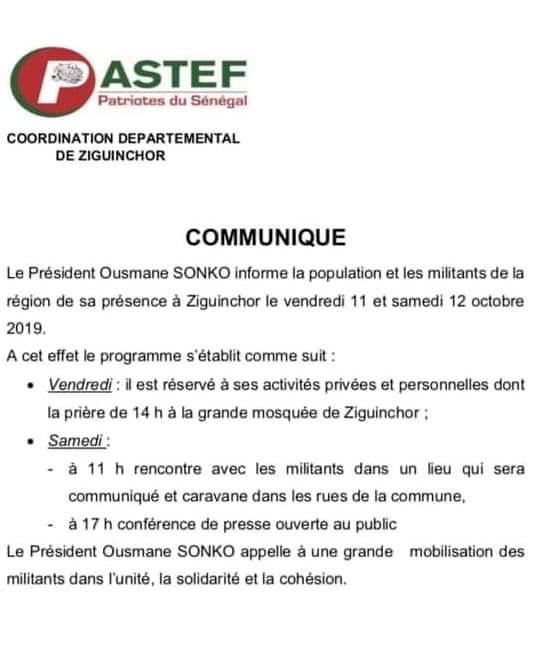Attendu vendredi à l'assemblée nationale, Ousmane SONKO répondra depuis Ziguinchor