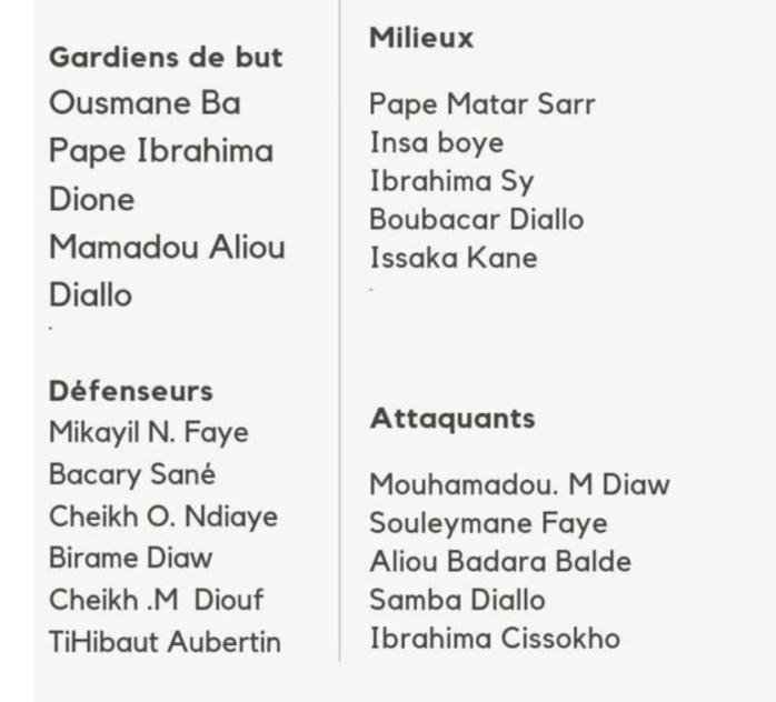 Liste : Voici les noms des 21 Lionceaux retenus pour la Coupe du monde U-17