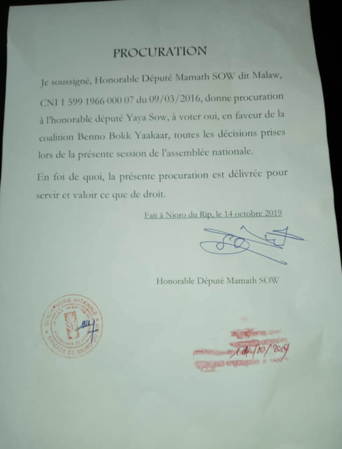 Bureau de l'assemblée/Sortie contre le Président de la République : l'HD Yaya Sow pris en flagrant délit de mensonge.(Document)