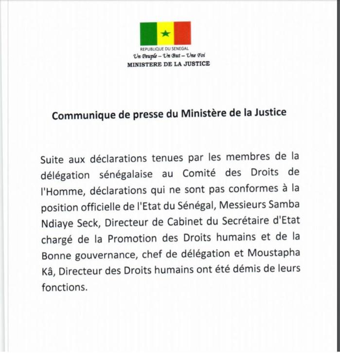 Cacophonie de Genève : Moustapha Kâ, le directeur des droits humains et Samba Ndiaye Seck , Dircab du secrétaire d'Etat chargé de la promotion des droits humains démis de leurs fonctions