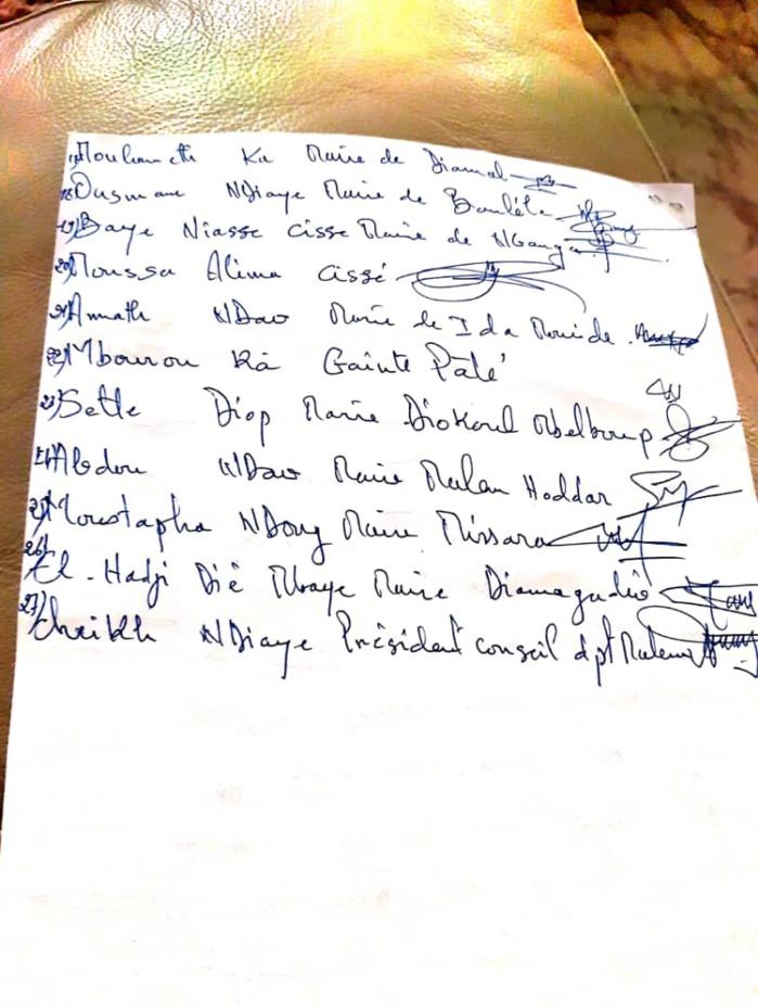 Kaffrine : 29 élus locaux apportent leur soutien au président de la République et à son gouvernement à travers une résolution