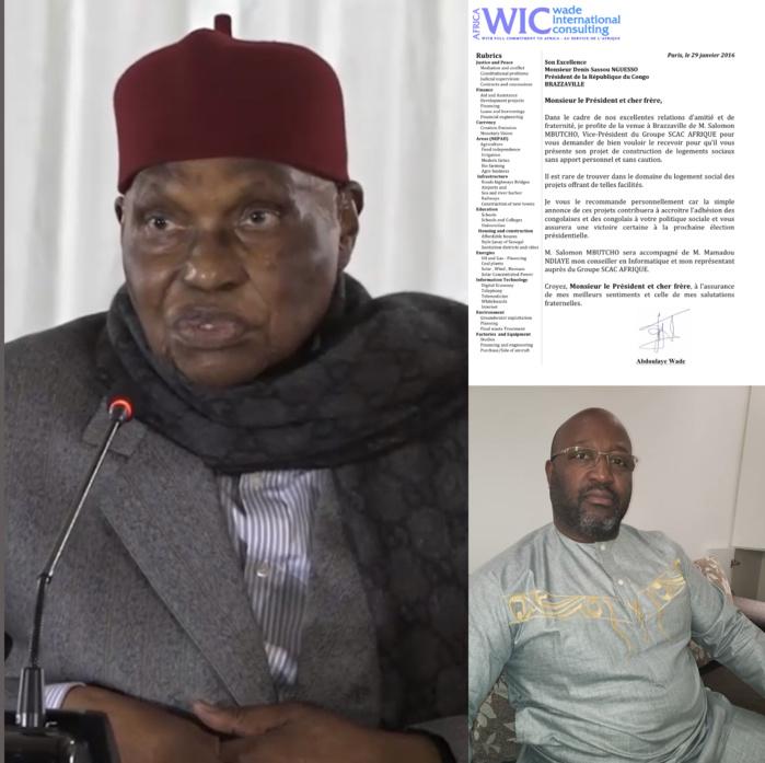 Auteur d'une lettre de recommandation de Salomon Mbutcho à Denis Sassou Nguesso, Me Wade actionnaire ou président de Scac Afrique ?