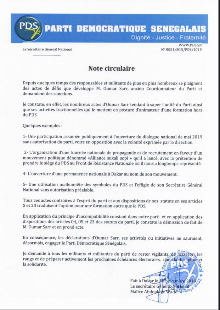 PDS : Me Wade se démarque des sorties de Oumar Sarr et sanctionne... (DOCUMENT)