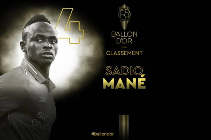 Sadio Mané 4e au classement du Ballon d'Or France Football 2019.