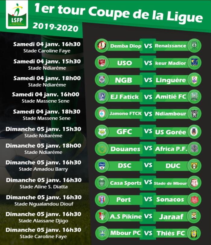 Programme 1er tour Coupe de la Ligue : Le choc A.S Pikine - Jaraaf à l'affiche sur la RTS1…