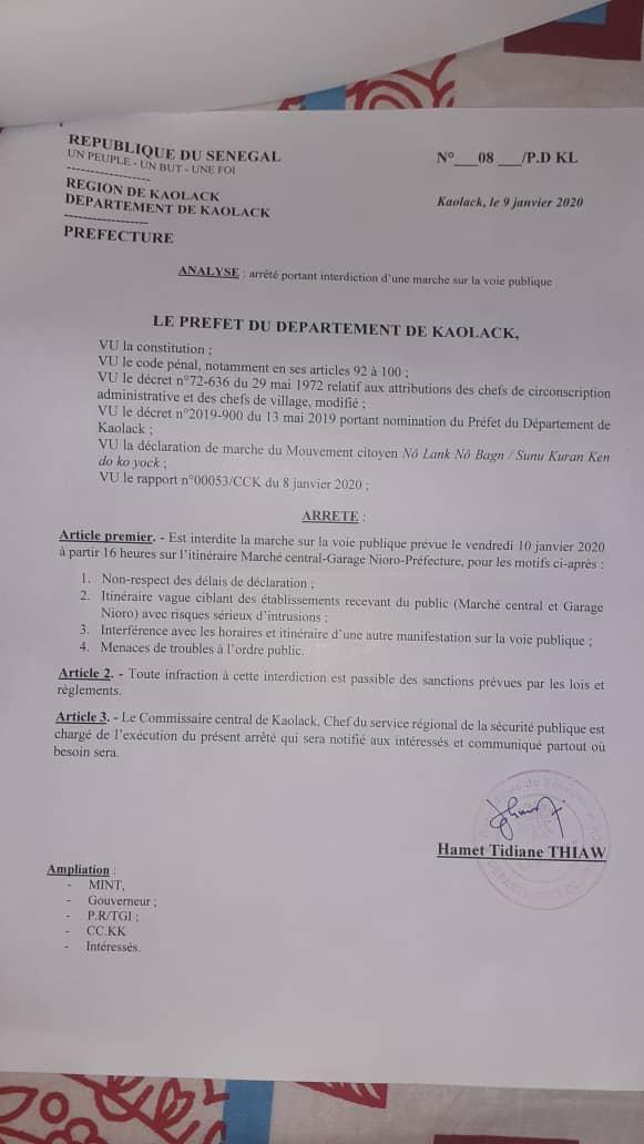 Kaolack : Le préfet interdit la marche des mouvements citoyens.