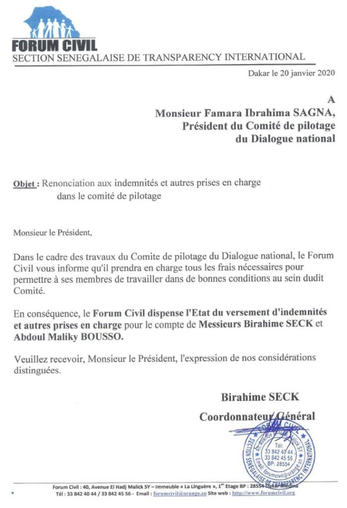 Dialogue national : Le Forum Civil renonce aux indemnités et autres prises en charge dans le comité de pilotage. (DOCUMENT)